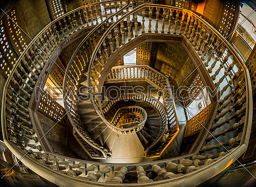 The internal staircase of the Baron Amban in the area of Heliopolis and one of the oldest palaces built in Egypt