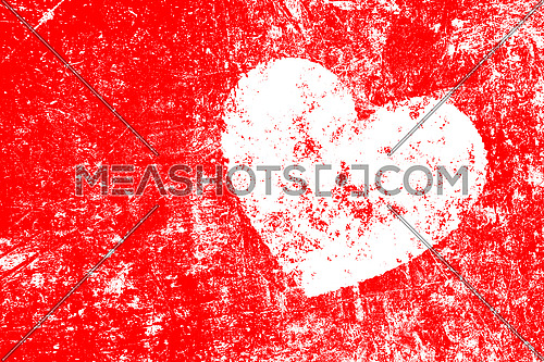 Grunge white heart over teal red noisy abstract romantic background