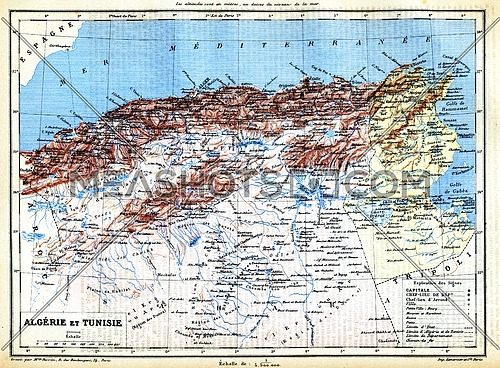 The map of Algeria and Tunisia with names of their cities on it.