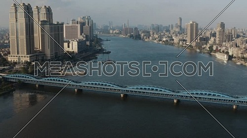 Flying over Embaba Bridge and Nile towers