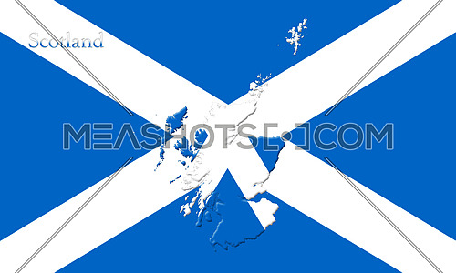 Flag Of Scotland With Country Map On It 3D illustration