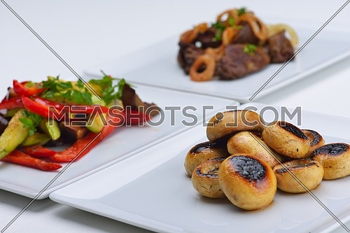 grilled fresh meat and vegetables organic healthy food isolated on white background