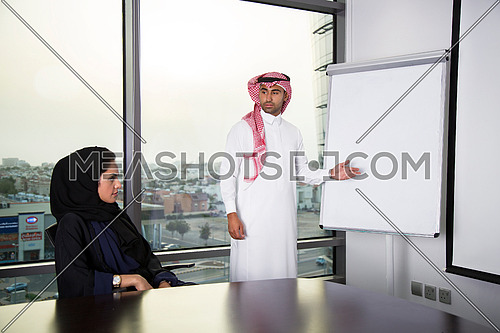 Employee presenting on board in a meeting room