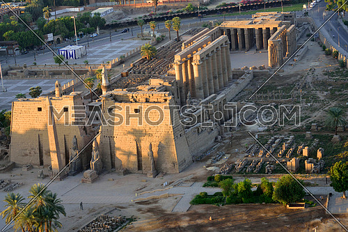 an aerial shot of Luxor Temple Ancient Egypt