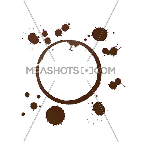 Vector illustration of brown coffee cup or mug stain rings and drops isolated on white background