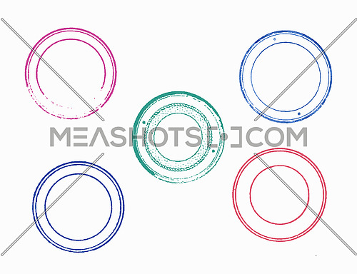 Set of vector illustrations of multicolor grunge blank empty rubber stamp template prints over white background