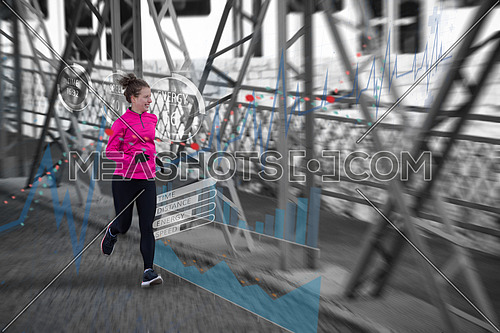 Woman running across the bridge with statistics in background