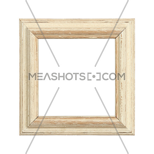 Vintage old antique beige painted square massive picture frame with cracked paint isolated on white, close up