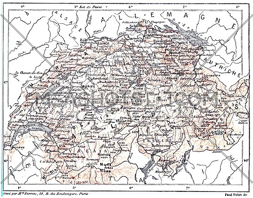 Map of Switzerland,  vintage engraved illustration. Dictionary of words and things - Larive and Fleury - 1895.