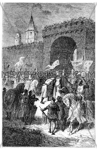 The farewell of St. Louis and Blanche of Castile, vintage engraved illustration.