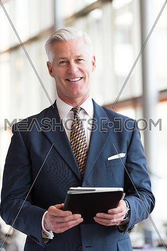 handsome senior business man with grey hair working on tablet computer at modern bright office interior