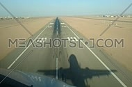 View from aircraft windshield Landing Yenbu Saudi Arabia