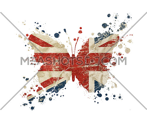 Butterfly shaped old grunge vintage dirty faded shabby distressed UK Great Britain national flag with paint drops splattered isolated on white background