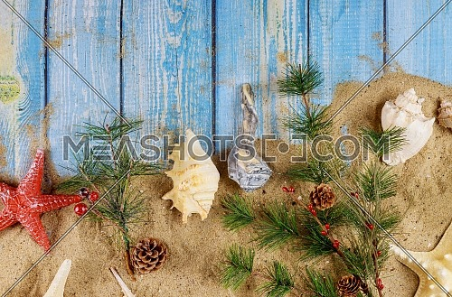 Christmas with vacation holiday on sand the background seashells and starfish on wooden board