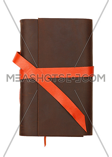 Close up of one vintage style jotter notebook with old leather cover and orange bookmark strap, isolated on white, elevated top view, directly above