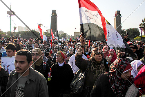 Egyptian Protesting on Kasr el nile bridge