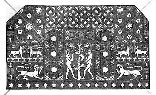 Mosaic time of Edward III, It is in Ely, in the former chapel of the prior, and represents the tentatio of Adam and Eve, vintage engraved illustration. Colorful History of England, 1837.