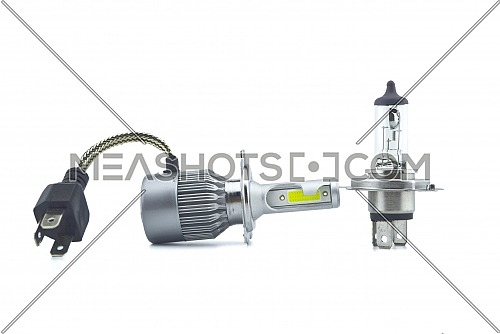 Car H4 LED and halogen headlight bulbs isolated on white background