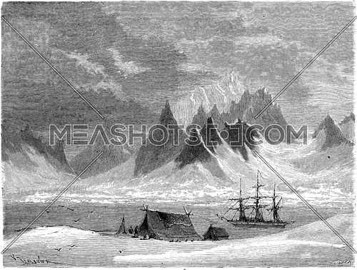 View of the Bay de la Madeleine. vintage engraved illustration. Le Tour du Monde, Travel Journal, (1865).