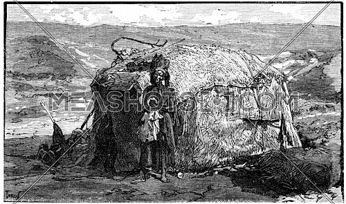 Dwelling nomadic Somalis near Cape Guardafui, vintage engraved illustration. Journal des Voyage, Travel Journal, (1880-81).