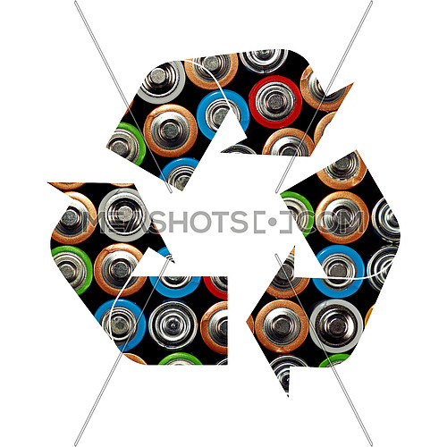 Illustration of recycling symbol of assorted alkaline batteries isolated on white background