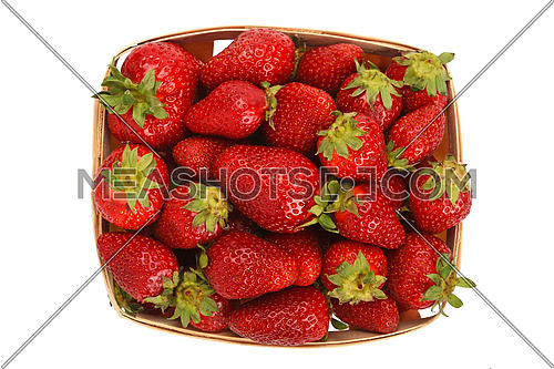Mellow fresh red summer strawberries in wooden wicker basket isolated on white background, top view