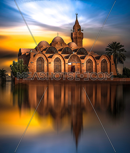long for gor jeddah mosque on the red sea in Saudi Arabia at dusk.