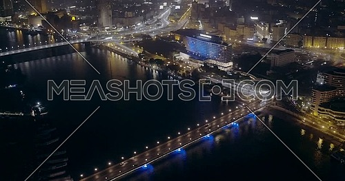 360 Drone shot fly around Kasr Al Nile Bridge in Cairo at night