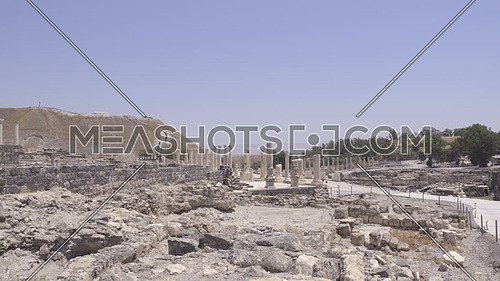 View of pan of Beit Shean archeological ruins