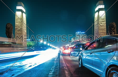 Zoom Out Shot for Qasr Al Nile Bridge from Day to Night