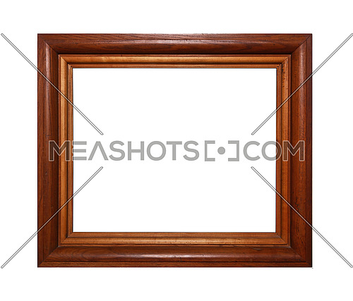 Simple minimalistic massive rectangular brown wooden classic frame for picture, photo or mirror, isolated on white background, close up