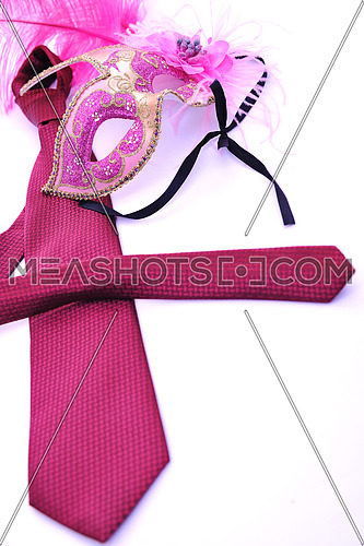 man fashion with business neck tie and woman carnival mask isolated on white