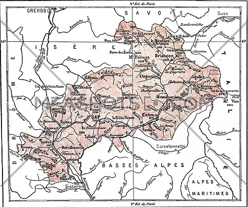 Map of Department of Hautes-Alpes, vintage engraved illustration. Dictionary of words and things - Larive and Fleury - 1895.