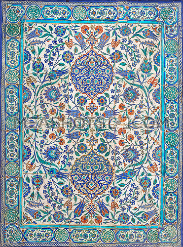 Ottoman era style glazed ceramic tiles from Iznik (Turkey) decorated with floral ornamentations, Cairo, Egypt