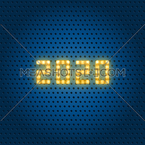 Close up yellow neon glowing bright led light 2020 sign on dotted blue background with copy space