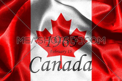 Canadian National Flag With Maple Leaf On It in Red And White Colors With Canada Written On It