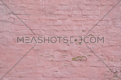 Pink painted grunge old brick wall texture background