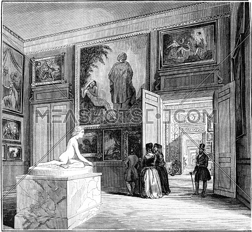 Museum of Bordeaux, View of the second room, vintage engraved illustration. Magasin Pittoresque 1845.