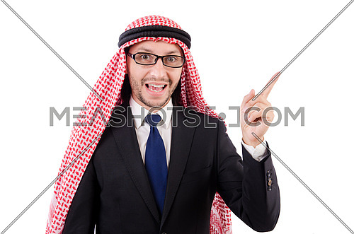 Arab man in specs isolated on white