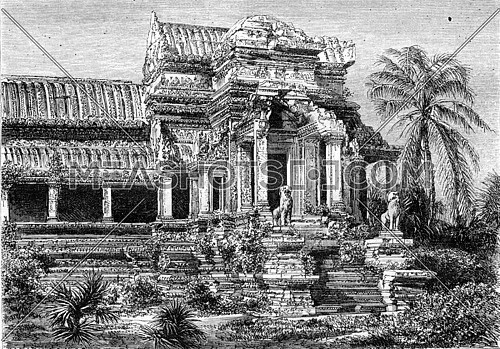 Ruins at Angkor Wat, exterior facade of a house, vintage engraved illustration. Magasin Pittoresque 1870.