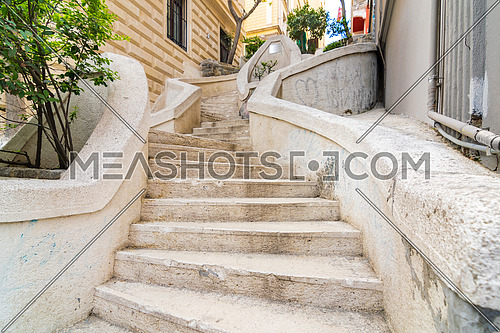 Kamondo Stairs, a famous pedestrian stairway leading to Galata Tower, built around 1870, located on Banks Street in Galata, Karakoy district of Istanbul, Turkey