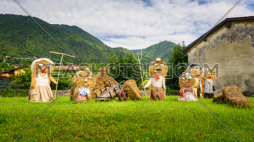 typical peasant family straw dolls
