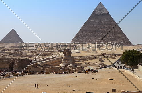 Fixed shot for the sphinx  and the pyramid in Giza at day