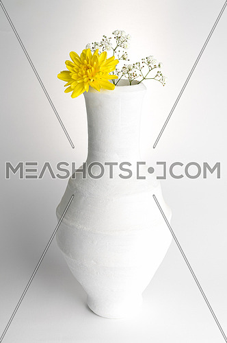 Still life composition of white pottery vase, yellow flower and small white flowers on white background