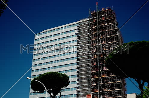 Unicredit Palace in recladding in Rome, Eur district