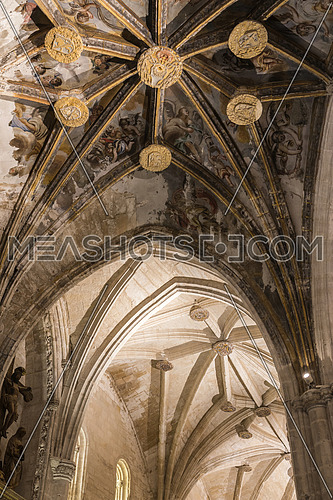 CUENCA, SPAIN - August 24, 2016: Detail of vault of Cathedral of Our Lady of Grace and Saint Julian of Cuenca. Castilla-La Mancha, Spain.