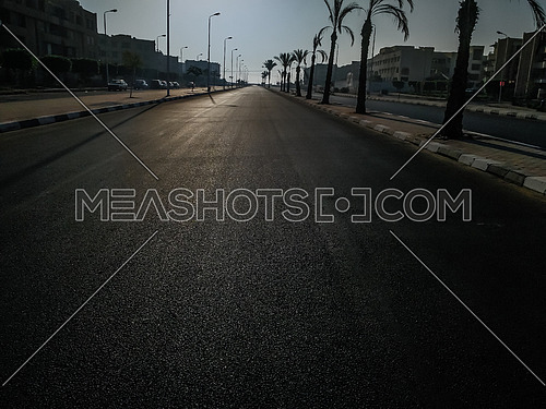 Long Shot for Empty Road in Al Shorouk City In egypt