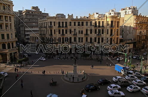 Fixed Long Shot for Traffic at Talat Harb Street at Cairo at Day