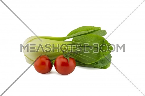 Fresh pak choi cabbage or chinese cabbage and cherry tomato twig isolated on white background