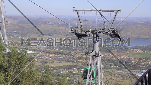 Scene as car arrives at top of Hartbeespoort cableway